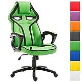 CLP Bürostuhl Chicane mit Kunstlederbezug | Chefsessel mit Wippmechanismus | Bürostuhl mit Leichtlaufrollen Grün