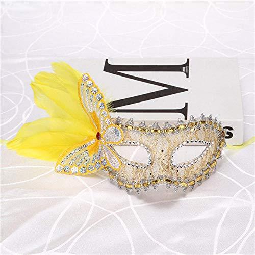 QTJKH Horror Maske Venezianische Maskerade Schmetterling Venezianische Maske Venedig Blume Hochzeitsfeier Auftritt Lila Kostüm Lady @ B
