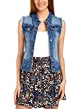 oodji Ultra Donna Gilet in Jeans con Tasche Decorative, Blu, IT 40 / EU 36 / XS