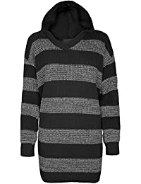 Be Jealous Womens Ladies Oversized Baggy Block Stripes Full Sleeve Chunky Knit Hoodie Hooded Long Jumper Dress Top Plus Size