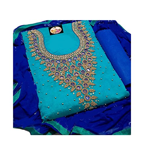 light blue chanderi embroidery semi stitched salwar suit