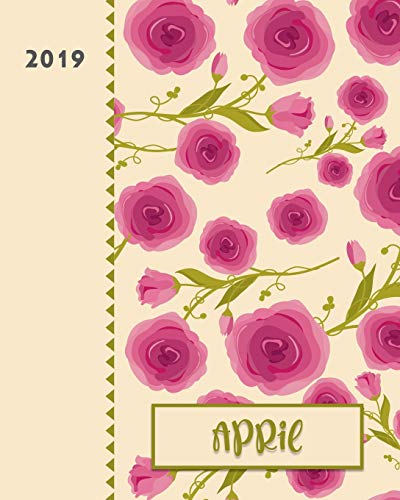 April 2019: Personalized Weekly Planner including Monthly View | 12 Months January to December | Fanciful Pink Roses Design on Cream -