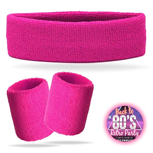 TK Gruppe Timo Klingler 3 in 1 Schweißband pink Set mit Stirnband - als Accessoire Kostüm zu Retro neon 80er 90er Fasching & Karneval