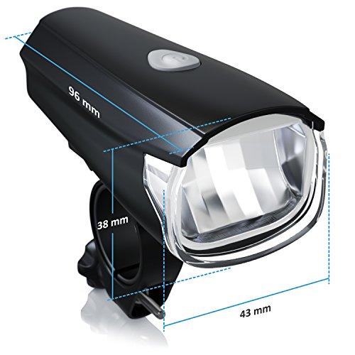 CSL – StVZO LED Fahrradbeleuchtung Set | Modell DG320 | Fahrradlampen / Fahrradlicht / Fahrradlampenset inkl. Front- und Rücklicht | helle LED (30 Lux) | energiesparend | Regen- und Stoßfest - 2