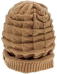 Smile YKK cálido de lana para tejer gorro de invierno trenzado Baggy Beanie Crochet Gorra de esquí