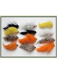 12non pondéré Zonkers mouches de pêche, couleurs mélangées 8/10Crochet