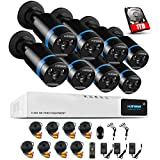 1080P Überwachungskamera System 8 x 1080P Wetterfest HD-Kamera Außen und 8CH DVR mit 1TB Festplatte 1080P Überwachungskamera Set Bewegungsmelder IR Nachtsicht
