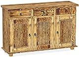 Brasilmöbel Sideboard, Pinie Massivholz, geölt und Gewachst geflammt, L/B/H: 129 x 40 x 83 cm