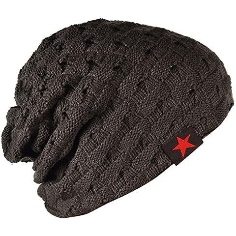 SODIAL (R) hombres tejida de punto de la gorrita reversible holgado tapa del craneo grueso de invierno Gorra X085 - Gris