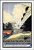 Herbé ™ Train : Paris Havre New - York Rf162 - Poster/Reproduction 30x42cm d1 Affiche Ancienne...