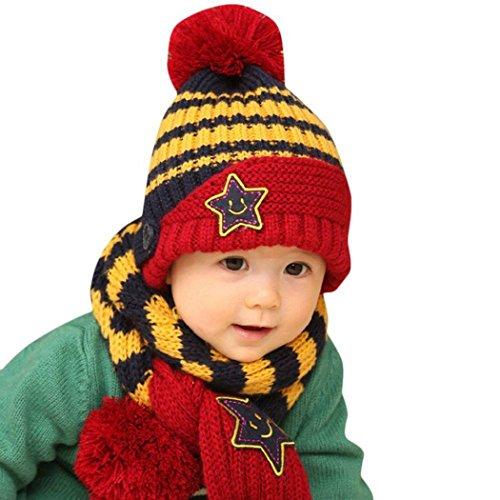 DAYAN Invierno Otoño Caliente para Bebés niños niñas Gorro y Bufanda de Lana de la estrella raya de sombrero Color Armada