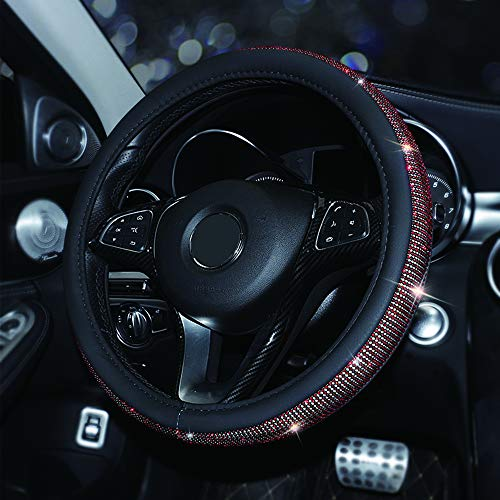 MASO Car Steering Wheel Cover Black PU Leather Soft Skidproof Cover with Crystal Bling Bling Red Diamond-Universal Size 37-38cm