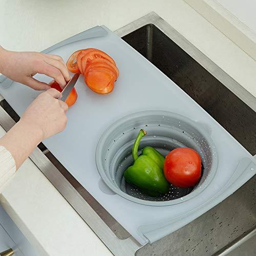 Promise2134 - tagliere per lavello da cucina, multifunzione, con filtro e cestello pieghevole