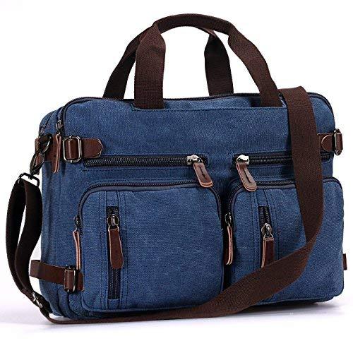 Fresion Canvas Arbeitstasche Rucksack für Damen Herren,Retro Schultasche Business Rucksäcke Universität Arbeit Notebook-Aktentaschen Laptoptaschen für 14 Zoll,Messenger Umhängetasche Blau