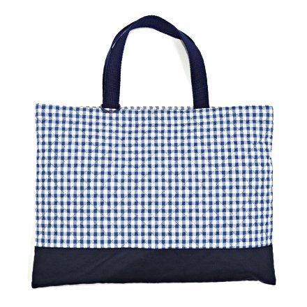 Kids lesson bag of handmade sense (quilting) check large, dark blue, dark blue x Ox made in Japan N0230900 (japan import)