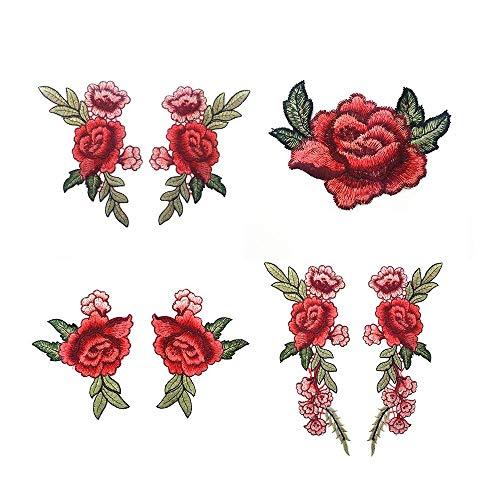 Floskam 8 Stück bestickte Patches Blume Aufnäher Patches Rose Patch Kleidung Aufkleber für Jeans Hut Schuhe (Blume Stoff Schuhe)