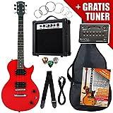 Rocktile Single Cut Pack Komplettset Power E-Gitarre Rot (Verstärker, Stimmgerät, Tremolo, Tasche, Kabel, Gurt, Plecs, Ersatzsaiten und Schule mit CD/DVD)