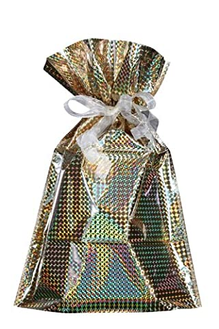 GiftMate Drawstring Small Gift bag | Gold Holographic | THE Quickest way to wrap a gift by Gift mate