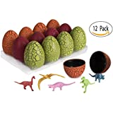 12 Self Balancing Eggs With Miniature Dinosaur - Easter Eggs With Dinosaur Party Favors Gift Giveaway - Dinosaur Party