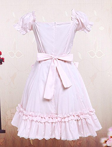 Cemavin Cotton Pink Lace Short Sleeves Cosplay Lolita Dress