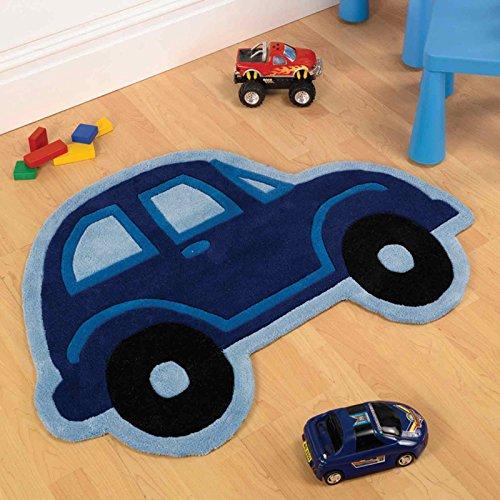 Divertido y juguetón! Los niños alfombra del piso alfombra para dormitorio/cuarto/sala infantilõ colgar, poliéster, Boys Car - Blue, 80x100cm