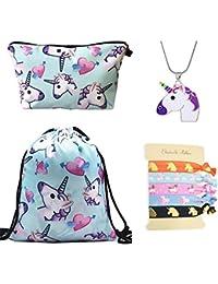 DRESHOW Licorne Cadeaux pour les filles 4 Pack - Licorne cordon sac à dos/maquillage sac/collier en alliage chaîne/cheveux attaches