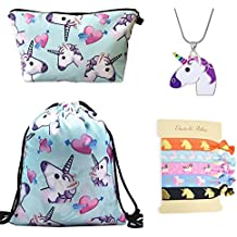 DRESHOW Unicorn Gifts for Girls 4 Pack - Unicornio Mochila con cordón/Maquillaje Bolsa/