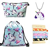 DRESHOW Unicorn Gifts for Girls 4 Pack - Zaino con un cordoncino e unicorno/Borsa per trucco/Collana Catena in lega/Fascette per capelli