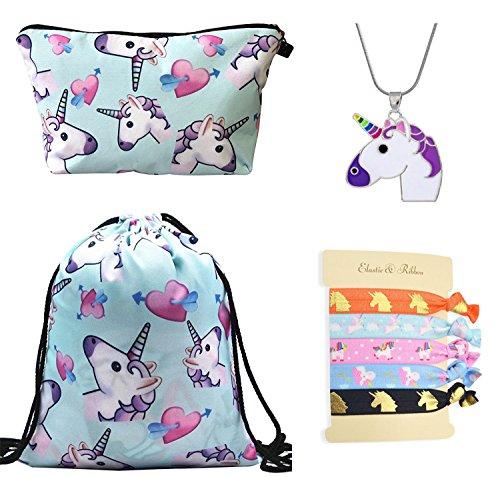 DRESHOW Einhorn Geschenke für Mädchen 4 Pack - Einhorn Kordelzug Rucksack/Make-up Tasche/Halskette Legierung Kette/Haargummis - Zarte Geschenk-set