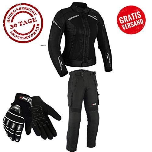 DAMEN MOTORRADKOMBI JACKE + HOSE + HANDSCHUHEN - BIKE MOTORRAD ROCKER TOURING (L) -