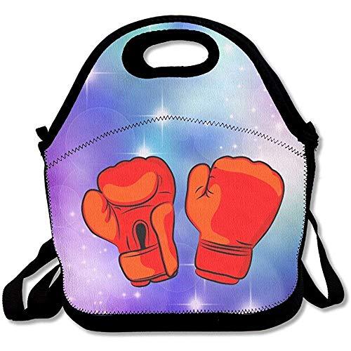 Rote Boxhandschuhe Lunch-Rucksack groß & dick Neopren Lunch-Taschen Isolierte Lunch-Taschen Kühltasche Warm Warm Tasche mit Schultergurt für Frauen Teenager Mädchen Kinder Erwachsene