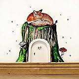 Elfentür mit Wandtattoo schlafender Fuchs auf Baumstamm mit Fliegenpilz Moos und Punkten e04 *weiß*