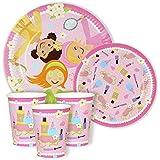 Pamper Princesas Fiesta Cena y postre platos de papel y vasos para 24personas