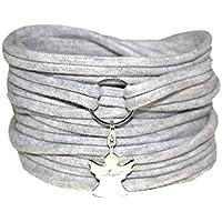Wickelarmband Schutzengel - Geschenk - Stretcharmband onesize - Armband aus Stoff mit Anhänger Engel versilbert