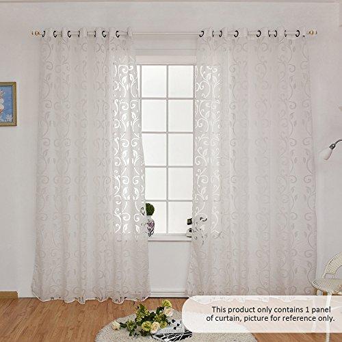 Decdeal Halbtransparent Gardinen Ösen Vorhang mit Rebe-Muster 1 Stück, 100x250cm