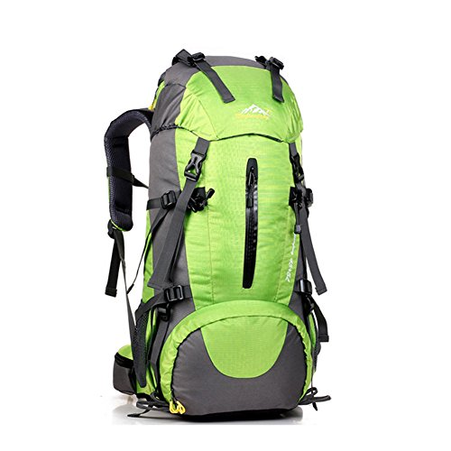 50L Travel Rucksack, ideal für Outdoor Sport, Wandern, Trekking, Camping Reisen, Bergsteigen. Wasserdichte Bergsteigtasche, Reiseklettern Daypacks, Rucksack, Rucksack Grün
