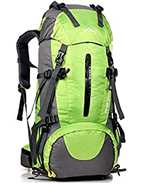 yihome al aire libre de gran capacidad montañismo bolsa 45+ 5L material de nylon con cubierta para la lluvia, verde