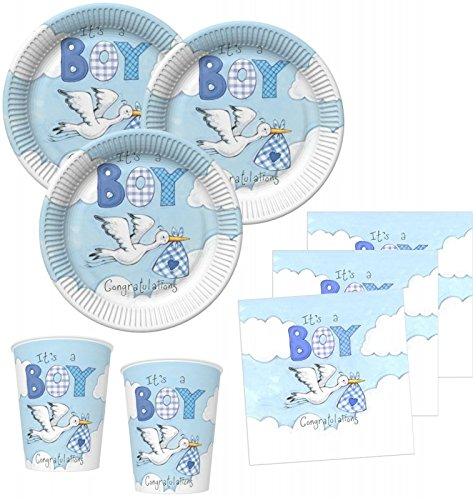 Blaue 16 (48 Teile Baby Shower Deko Set Storch in Blau 16 Personen)