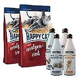 Happy Cat Voralpenrind 2 x 10 kg + 2 x TJURE Zartes Samtpfötchen + 2 x TJURE Frecher Wildfang