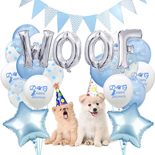 De 16 Pulgadas Papel Mylar Globo para Fiesta de cumpleaños del Perro Número de Trama Premium Látex Globos de Fiesta Suministros de Fiesta(No Incluye Sombrero)-D