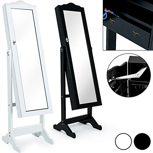 Spiegelschrank weiß + Türgelenk + Schubfächer + schwenkbar - Schmuckschrank Schrankspiegel Standspiegel abschließbar