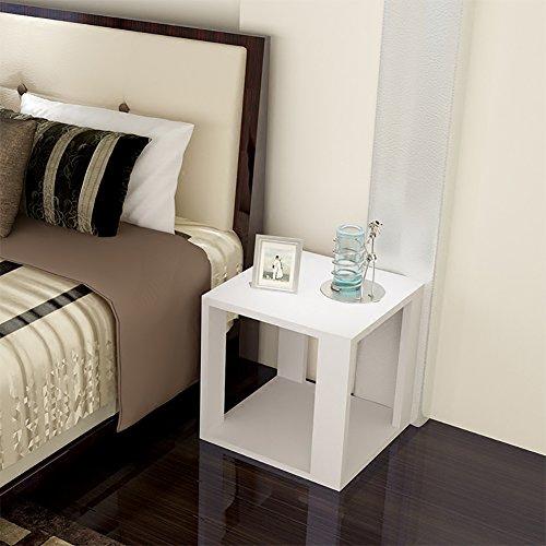D&L Holz Wasserdicht Beistelltisch, Quadratische Sofatisch Schlafzimmer Nachttisch Wohnzimmer Couchtisch Moderne Vintage Telefontisch-Weiß L50xW50XH40cm (Quadratische Glas-plattform)