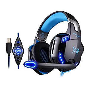 KOTION EACH G2200 Gaming Headset Kopfhörer USB 7.1 Surround Sound mit Mikrofon LED-Licht (Schwarz+Blau)
