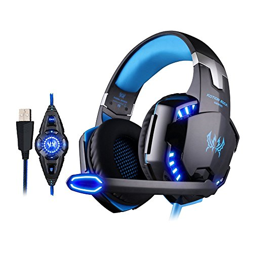KOTION EACH G2200 Gaming Headset Kopfhörer USB 7.1 Surround Sound Version CF Vibration mit Mikrofon LED-Licht (schwarz+blau) -