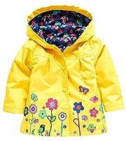 X&F Little Girls Cute Floral Hooded Raincoat Outdoor Waterproof Jacket Rainwear 5-6 Years, Yellow