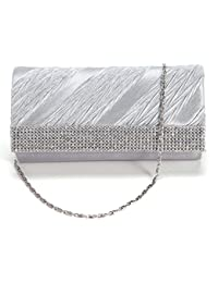 Sac a Main Pochette de Soiree Rigide Strass en Satin Mariage Bal Party