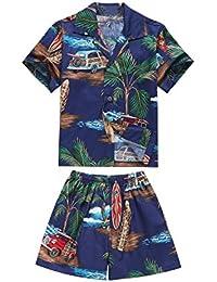 Hecho en Hawaii Luau Aloha Camisa y Pantalones Cortos Chico Juego de Cabana Palma Mini Tablas