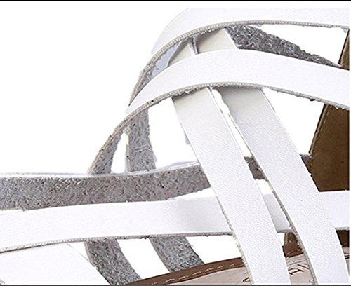 Basse Piattaforma Incrociati Bianco Sandali Donna Alla Cinturino Wealsex Gladiatore Scarpe Caviglia Fibbia 40 43 Grande Cinturini 1wx5gqwd