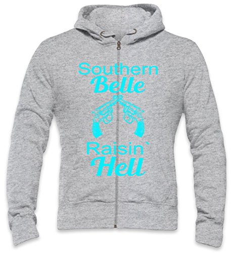Southern Belle Raisin' Hell Slogan Mens Zipper Hoodie Medium