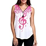 Yvelands Frauen Musical Notes Print ärmelloses Tank Top V-Ausschnitt Zipper T-Shirts Tops